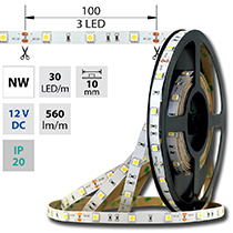 LED pásek SMD5050 NW, 30LED/m, 7,2W/m, 560lm/m, IP20, DC 12V, 10mm