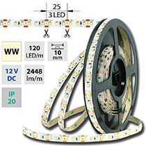LED pásek SMD2835 WW, 120LED/m, 28,8W/m, 2448lm/m, IP20, DC 12V, 10mm