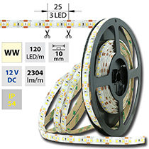 LED pásek SMD2835 WW, 120LED/m, 28,8W/m, 2304lm/m, IP54, DC 12V, 10mm