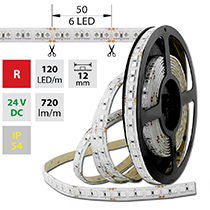 LED pásek SMD5050 R, 120LED/m, 28,8W/m, 720lm/m, IP54, DC 24V, 12mm