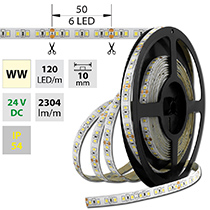LED pásek SMD2835 WW, 120LED/m, 28,8W/m, 2304lm/m, IP54, DC 24V, 10mm