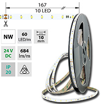 LED pásek SMD2835 NW, 60LED/m, 6,5W/m, 684lm/m, IP20, DC 24V, 10mm