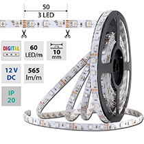 LED pásek SMD5050 RGB DIGITAL, 60LED/m, 14W/m, 565lm/m, IP20, DC 12V, 10mm, 5m