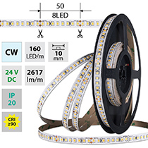 LED pásek SMD2835 CW, 160LED/m, 19,2W/m, DC 24V, 2617lm/m, CRI90, IP20, 10mm