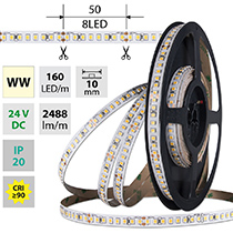 LED pásek SMD2835 WW, 160LED/m, 19,2W/m, DC 24V, 2488lm/m, CRI90, IP20, 10mm