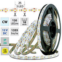 LED pásek SMD2835 CW, 120LED/m, 14W/m, 1355lm/m, IP20, DC 12V, 10mm, 5m