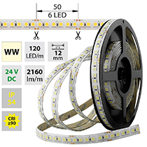 LED pásek SMD5050 WW, 120LED/m, 28,8W/m, 2160lm/m, IP54, DC 24V, 12mm