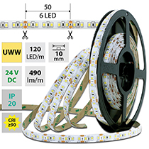 LED pásek SMD2835 UWW, 120LED/m, 7W/m, 560lm/m, IP20, DC 24V, 10mm, 50m