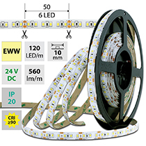 LED pásek SMD2835 EWW, 120LED/m, 7W/m, 560lm/m, IP20, DC 24V, 10mm