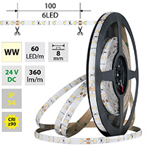 LED pásek SMD2835 WW, 60LED/m, 4,8W/m, DC 24V, 360lm/m, CRI90, IP54, 8mm