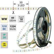 LED pásek SMD2835 WW, 60LED/m, 14,4W/m, 1224lm/m, IP20, DC 12V, 10mm