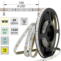 LED pásek SMD2835 WW, 60LED/m, 14,4W/m, 1224lm/m, IP20, DC 24V, 10mm