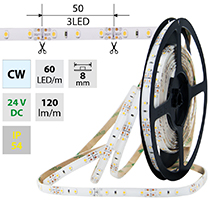 LED pásek SMD3528 studeně bílý, 60LED/m, IP54, DC 24V, 8mm