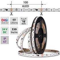 LED pásek SMD5050 RGB SPI, 60LED/m, 12W/m, DC24V, 330lm/m, IP20, 10mm